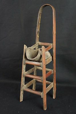 """Great antique Chinese carved wood chair-shaped brush holder 12"""" 8"""