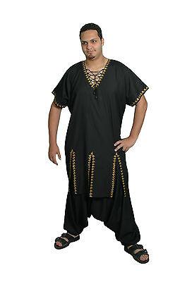 2 tlg.Set - Uomo Salwar Kameez Tunica nero/gold in Pakistano Style KAM00395 3 • EUR 39,99