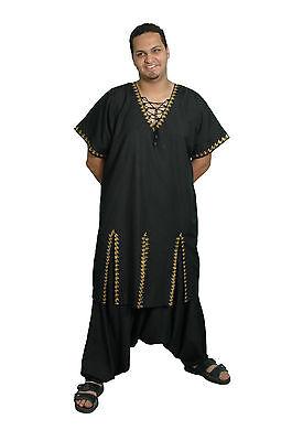 2 tlg.Set - Uomo Salwar Kameez Tunica nero/gold in Pakistano Style KAM00395 2