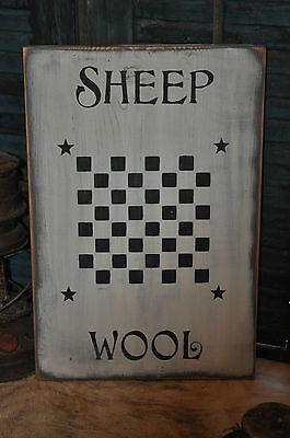 Vintage Looking White Wood Sign Sheep Wool Game Board Farmhouse Primitive Decor 2