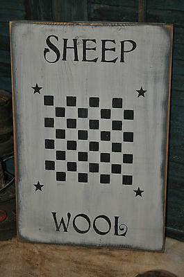 Vintage Looking White Wood Sign Sheep Wool Game Board Farmhouse Primitive Decor 9