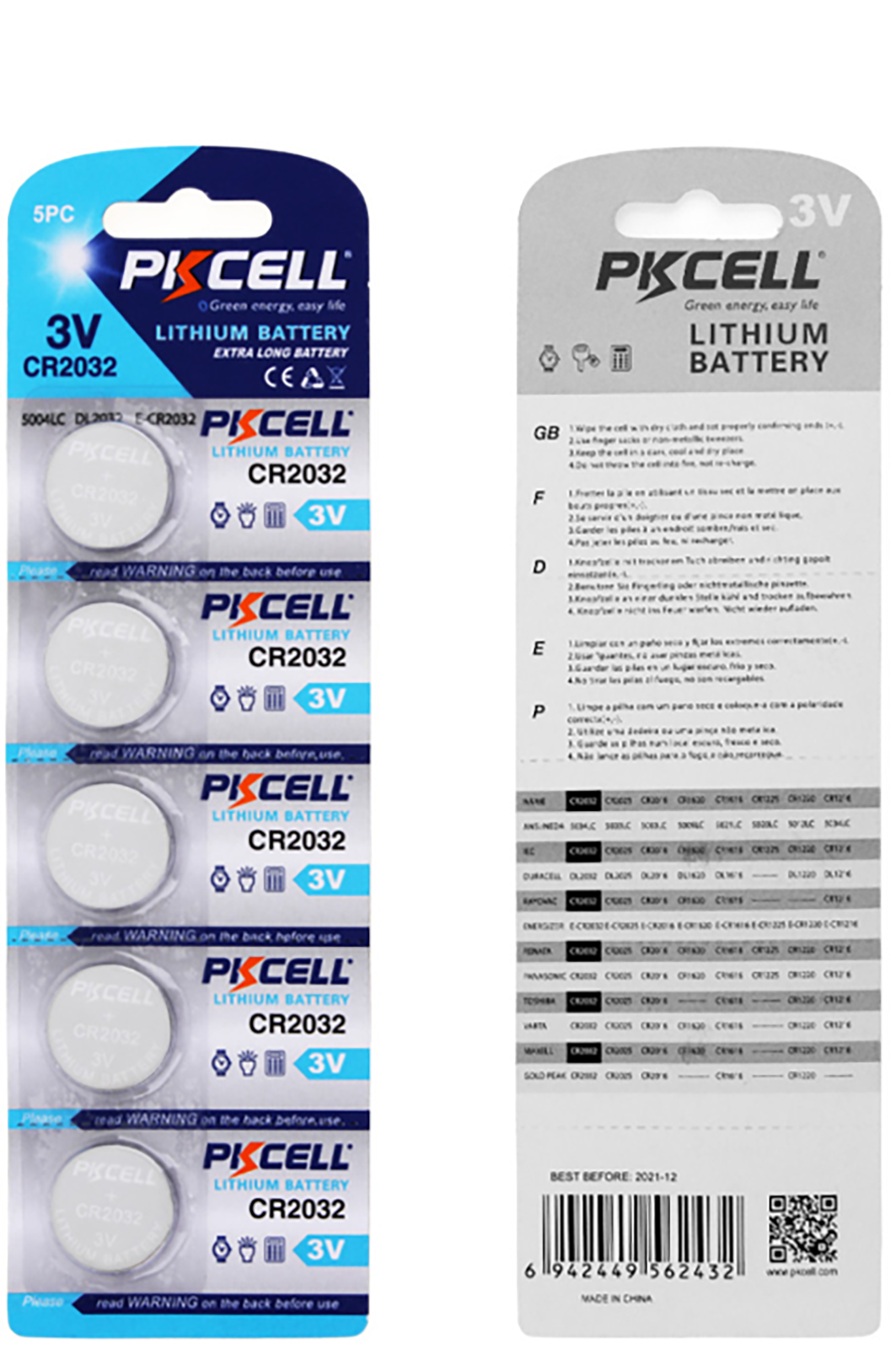 5 Brand New PKCELL CR2032 Button Cell 3v Lithium battery GENUINE EXPIRY 2023 8