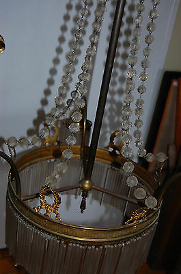 Antique Gorgeous Art Nouveau Brass Chandelier Glass Tubes Circa 19Th Century 3