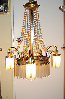 Antique Gorgeous Art Nouveau Brass Chandelier Glass Tubes Circa 19Th Century 11