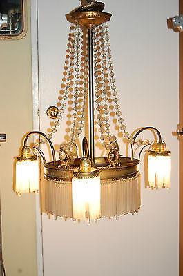 Antique Gorgeous Art Nouveau Brass Chandelier Glass Tubes Circa 19Th Century 11