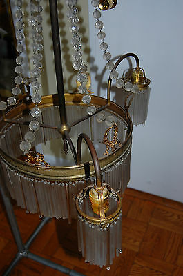 Antique Gorgeous Art Nouveau Brass Chandelier Glass Tubes Circa 19Th Century 7