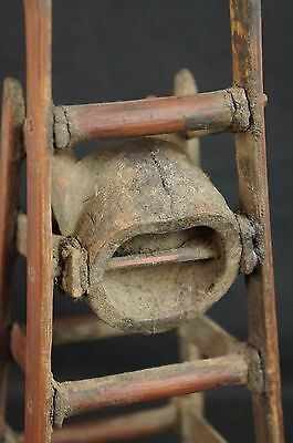 """Great antique Chinese carved wood chair-shaped brush holder 12"""" 4"""