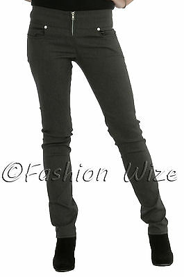 Ladies Girls Smart Trousers Casual Sizes 6 8 10 12 14 Skinny Leg Black Grey S8 8