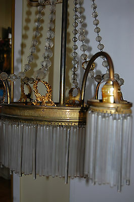 Antique Gorgeous Art Nouveau Brass Chandelier Glass Tubes Circa 19Th Century 10