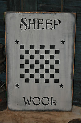 Vintage Looking White Wood Sign Sheep Wool Game Board Farmhouse Primitive Decor 5