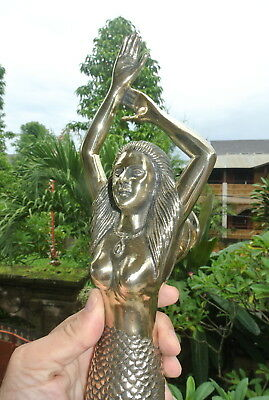 massive MERMAID solid brass door PULL old style heavy polished handle 49 cm B 5