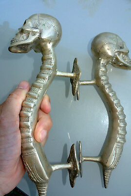 4 SKULL handle DOOR PULL spine solid BRASS old vintage style SILVER 28 cm B 7