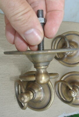 "4 small handle ring pull solid brass heavy old vintage style DOOR 3"" wide B 4"