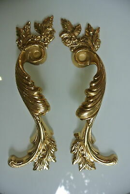 2 large polished french style pulls handles solid pure brass vintage door 28cm B 2