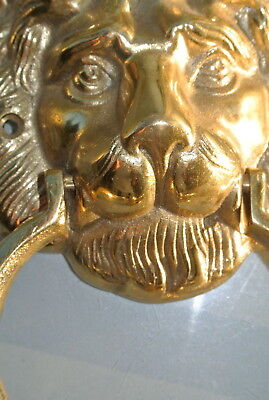 "LION head heavy POLISHED Door Knocker SOLID BRASS vintage old style house 7""B 5"