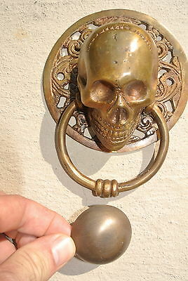 "large round SKULL head ring pull Handle BRASS 4"" day of the dead door KNOCKER B 3"
