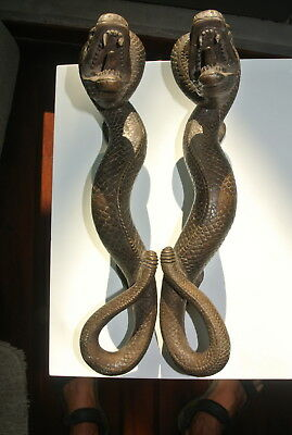 2 SNAKE Python solid hollow brass door PULL old style aged house handle 35cm B 4