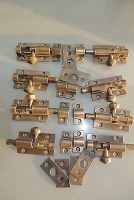10 small BOLTS old style doors furniture heavy brass flush slide 65mm bolts 4