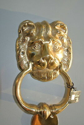 "LION head heavy POLISHED Door Knocker SOLID BRASS vintage old style house 7""B 3"
