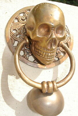 """large round SKULL head ring pull Handle BRASS 4"""" day of the dead door KNOCKER B 6"""