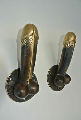 "2 PENIS erect DOOR PULL HOOK medium heavy aged brass 7 "" handle shop display B 8"