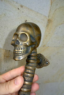 "SKULL handle DOOR PULL spine solid BRASS CAST old style heavy aged  11 "" long B 3"