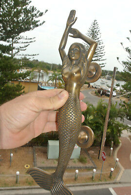 "large right MERMAID solid aged brass door PULL old style heavy handle 15"" longB 2"