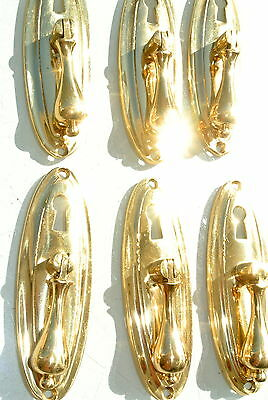 """6 LARGE 1920s pulls handles POLISHED  door old antique style drops knobs 4"""" KH 4"""