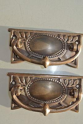 2 heavy vintage old style handles door brass furniture antiques 95mm pullsB 2