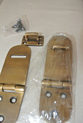 "2 small box catch hasp latch old style solid brass DOOR heavy rectangle 4"" B 11"