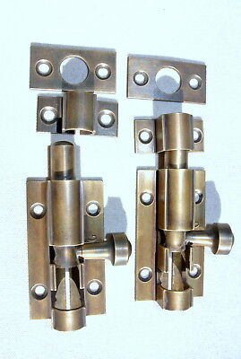 2 small BOLTS old style doors furniture heavy brass flush slide 65mm aged bolts 4