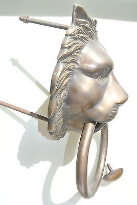 """HUGE stunning LION solid Brass heavy Door Knocker 12"""" unusual ring PULL B 4"""