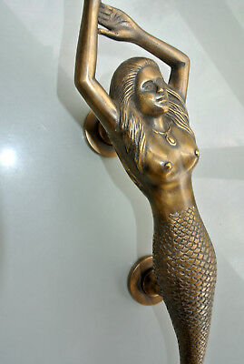 "large RIGHT MERMAID solid brass door PULL old style heavy house handle 15"" age B 11"