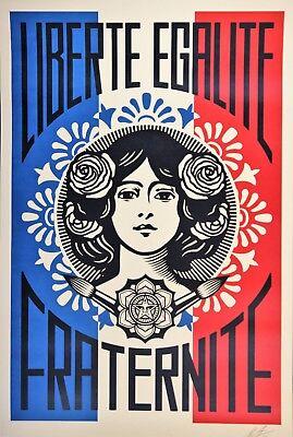 SHEPARD FAIREY Liberté Egalité Fraternité LITHO OFFSET SIGNEE OBEY GIANT MINT 4