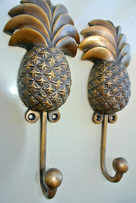 "2 large PINEAPPLE COAT HOOKS solid age brass  vintage old style 7"" hook B 2"