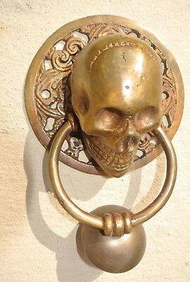 """large round SKULL head ring pull Handle BRASS 4"""" day of the dead door KNOCKER B 5"""