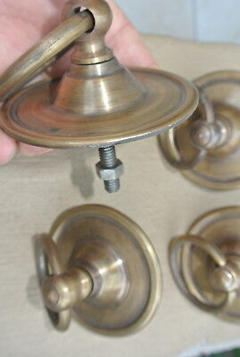 "4 small handle ring pull solid brass heavy old vintage style DOOR 3"" wide B 6"