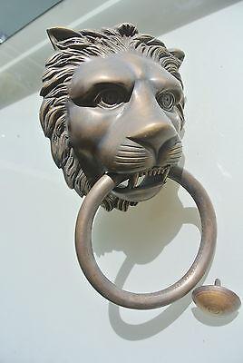"""HUGE stunning LION solid Brass heavy Door Knocker 12"""" unusual ring PULL B 5"""