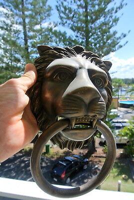 """HUGE stunning LION solid Brass heavy Door Knocker 12"""" unusual ring PULL B 7"""