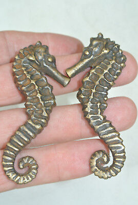 8 small SEAHORSE solid BRASS heavy KNOBS TROPICAL old style 7.5 cm L & R B 11