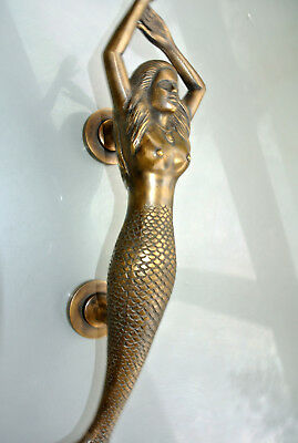 "large RIGHT MERMAID solid brass door PULL old style heavy house handle 15"" age B 10"