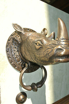 "RHINO heavy Door Knocker SOLID BRASS vintage age style house amazing 5.1/2"" B 3"