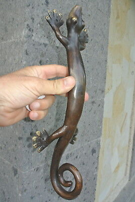 "2 large 14 "" GECKO PULL and  2 small 8"" gecko door handle aged brass hollow B 11"