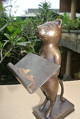 """Standing CAT business card holder hollow statue 8"""" display vintage style aged B 6"""