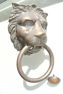 """HUGE stunning LION solid Brass heavy Door Knocker 12"""" unusual ring PULL B 2"""