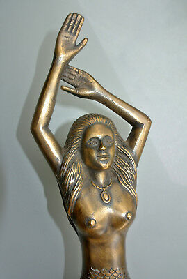 "large RIGHT MERMAID solid brass door PULL old style heavy house handle 15"" age B 7"