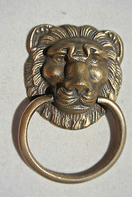 """6 LION PULLS handles Small heavy SOLID BRASS old style screws house antiques 2""""B 10"""