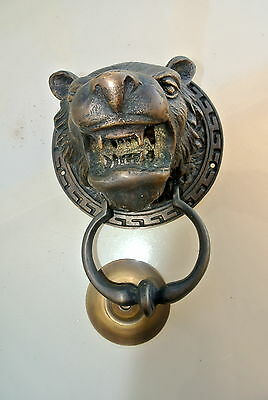 LION TIGER head old heavy front Door Knocker SOLID BRASS vintage antique style 5