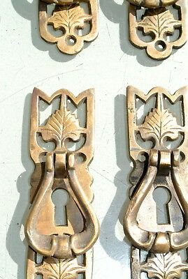 4 small old style pulls BRASS handles aged door old style drops knobs kitchen B 3