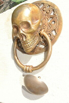 """large round SKULL head ring pull Handle BRASS 4"""" day of the dead door KNOCKER B 2"""